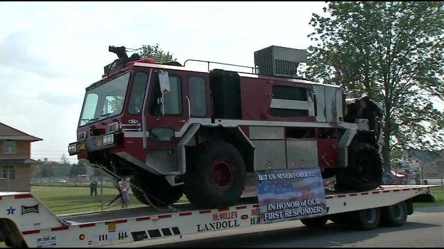 This fire truck shielded firefighters from falling debris from the terrorist attacks on Sept. 11, 2001. It will now be on permanent display at the Patton Museum in Ft. Knox.