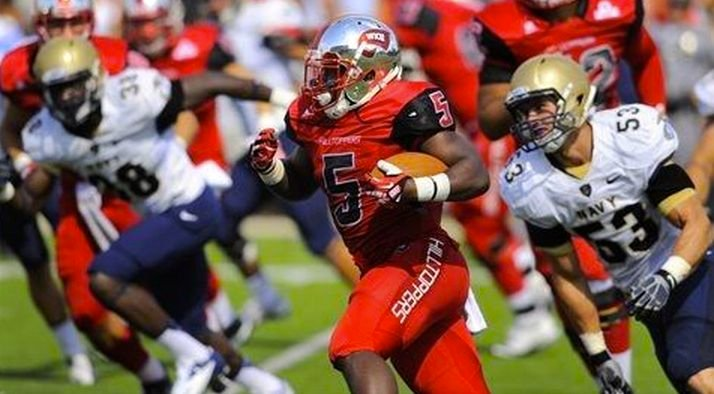 WKU halfback Antonio Andrews improved his rushing total to 727 yards, best in the nation, against Navy.