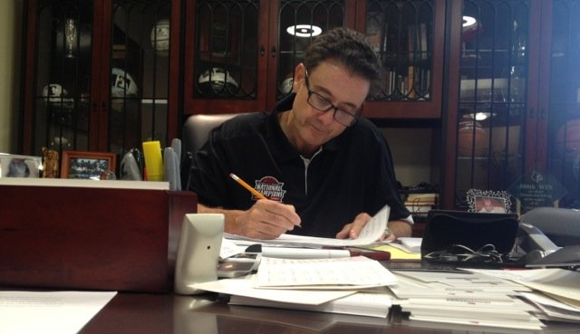 "Rick Pitino revises a manuscript of ""The One-Day Contract,"" due in stores on Tuesday. (Eric Crawford photo)"