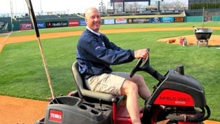Tom Nielsen, head groundskeeper for the Louisville Bats