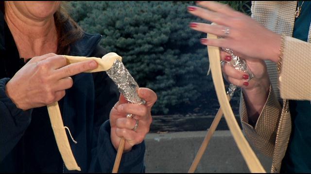 Wrap the dough around a form to make the shell for the campfire cream horns