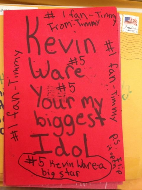 One of the thousands of cards Kevin Ware received from children. (Eric Crawford photo)