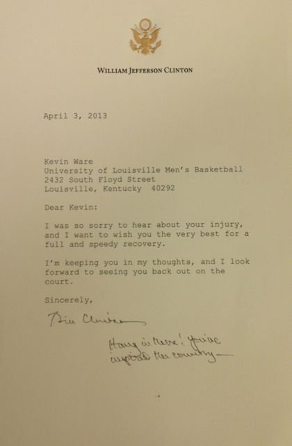 Letter to Ware from Bill Clinton. (Eric Crawford photo)
