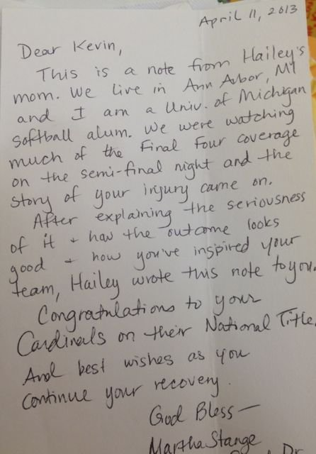 Letter from a mother to Kevin Ware. (Eric Crawford photo)