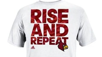T-shirts Louisville wore before their exhibition opener on Tuesday.