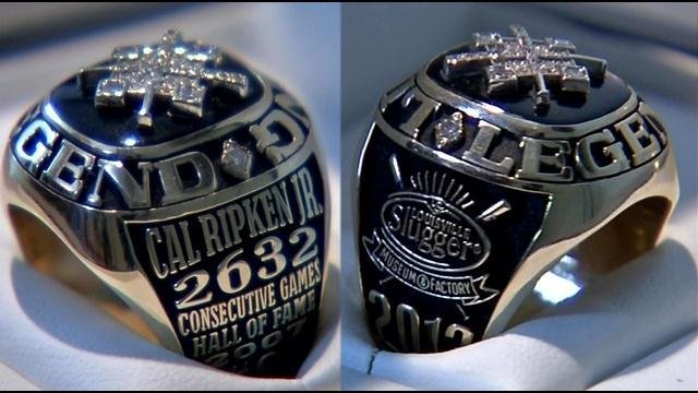 The ring's inscription includes Ripken's record of 2,632 consecutive games played and his 2007 induction into the Baseball Hall of Fame.