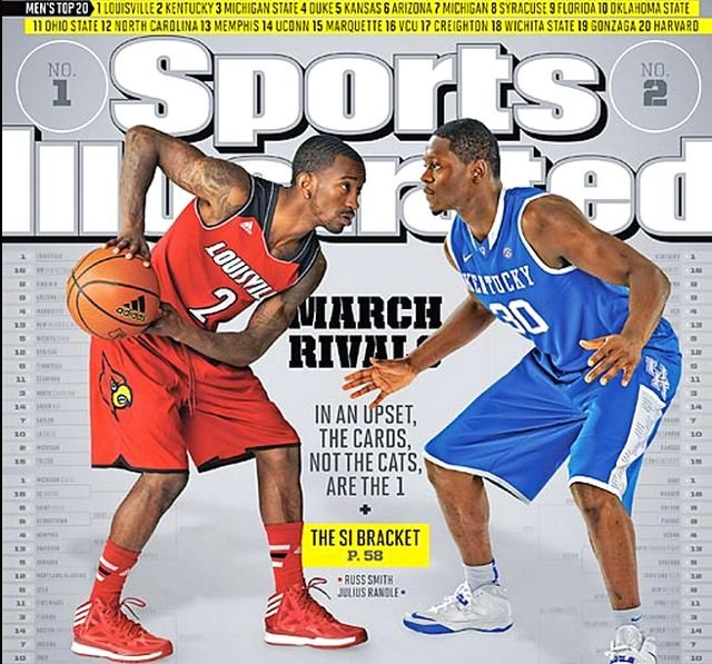 of Louisville's Russ Smith (left) and Julius Randle of Kentucky are featured on the cover of the latest Sports Illustrated.