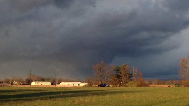 A wall cloud in Seymour, Ind.