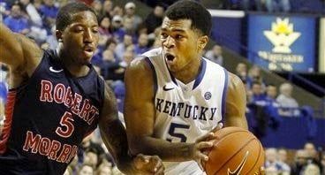 © AP photo. Freshman Andrew Harrison pulled down eight rebounds from the point guard spot in a win over Robert Morris.