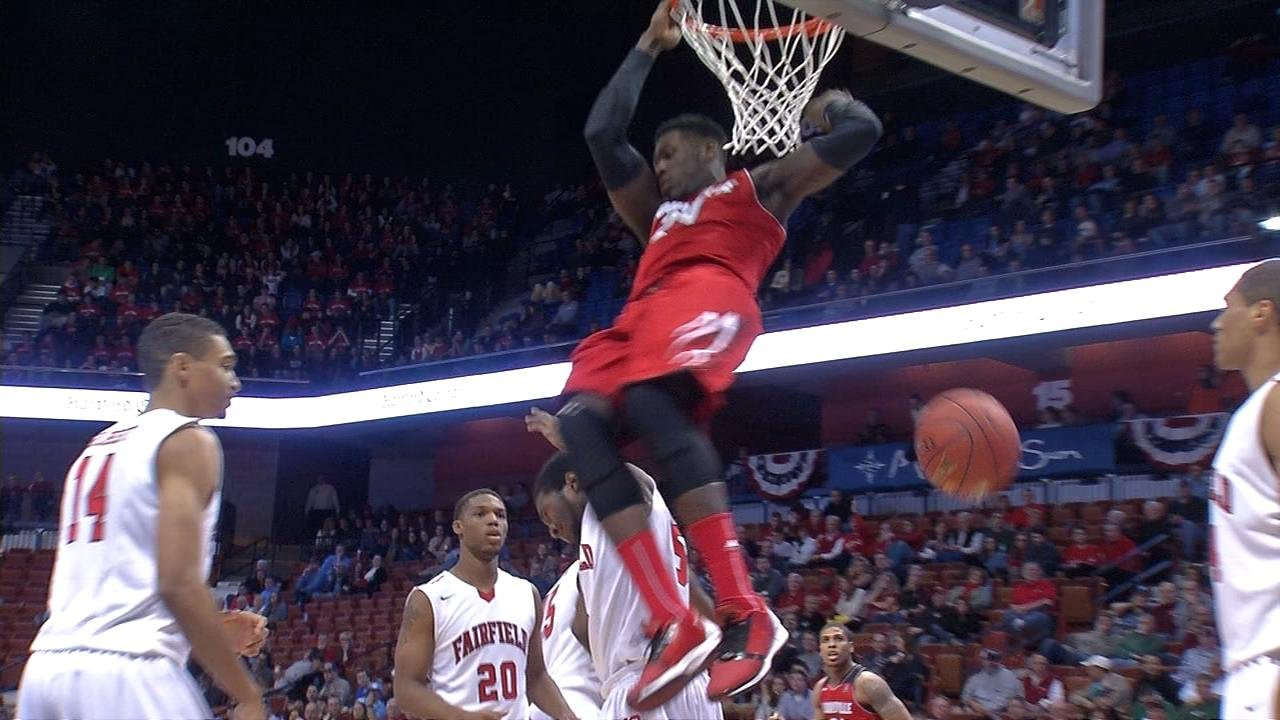 Montrezl Harrell dunks in the 2nd half of Saturday's win over Fairfield.