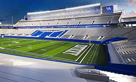 A view of the south side of renovations planned to be completed at UK's Commonwealth Stadium in 2015.