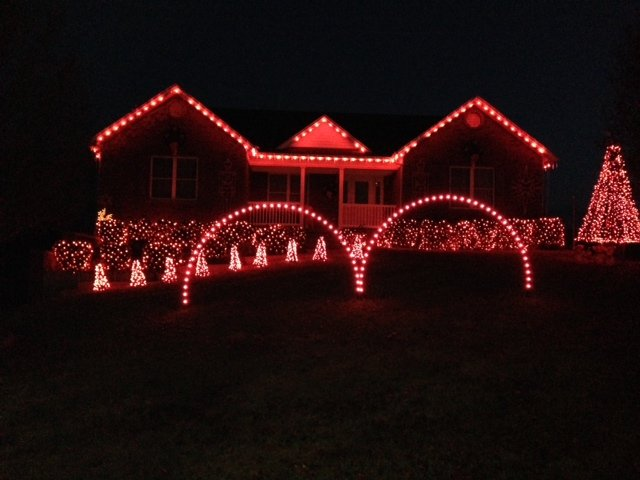 The LED lights are a range of colors at the Benham home