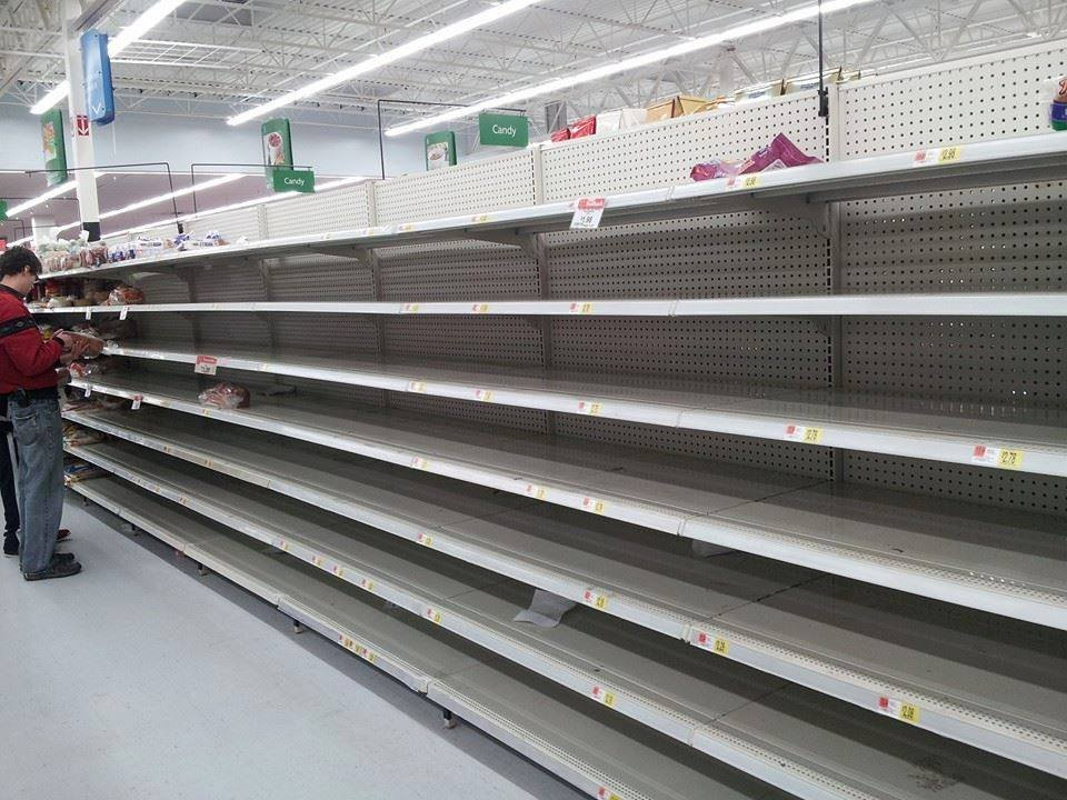WDRB News editor Erica Combs sent us this picture of the bread aisle at the Walmart in Lagrange on Thursday evening.