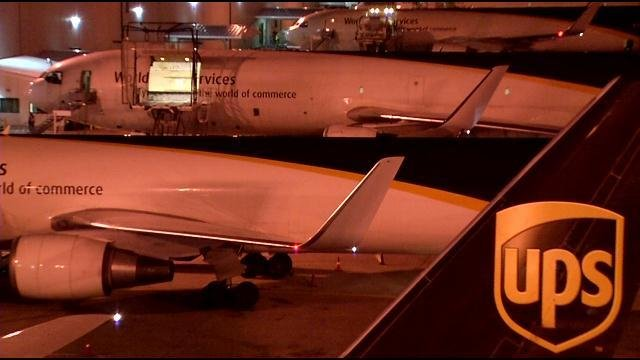 UPS jets lined up outside the UPS Worldport hub in Louisville early on Dec. 19.