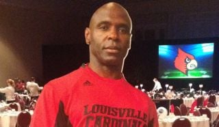 This cardboard cutout of Charlie Strong greeted fans at the Russell Athletic Bowl pregame luncheon Friday.