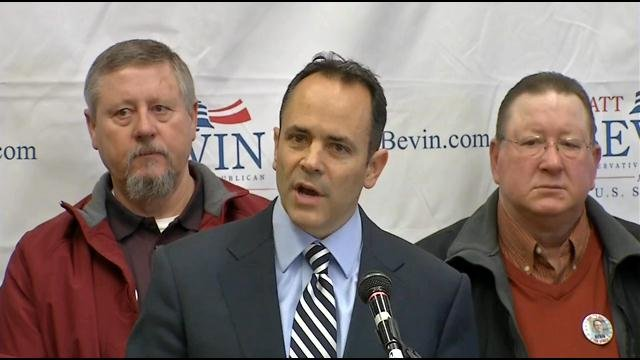 Matt Bevin is challenging McConnell in May's Republican primary; Bevin is a businessman and tea party favorite.