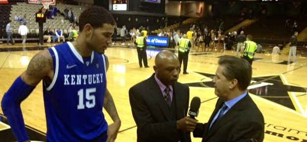 Willie Cauley-Stein (15) and Kentucky coach John Calipari met with Greg Anthony of CBS after the Wildcats won at Vandy Saturday.