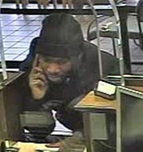 Surveillance image of suspect allegedly involved in robbery of Chase Bank on Shelby St. (Photo courtesy of Louisville Metro Police.)