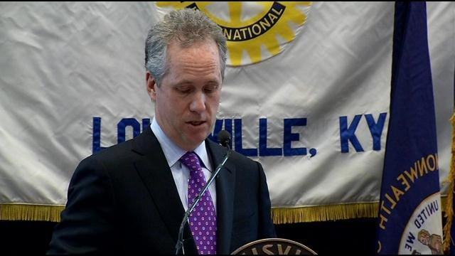Mayor Greg Fischer delivers his State of the City address at Churchill Downs, Jan. 16, calling citizens to support a local option sales tax referendum.