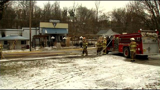Firefighters say 75 percent of the Blue River Cafe in Milltown, Ind., was damaged in a fire, Jan. 19.