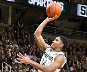 Gary Harris scored 24 points as Michigan State beat Indiana Tuesday in East Lansing.