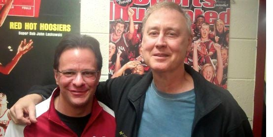 Grammy winner Bruce Hornsby visited with IU coach Tom Crean after the Hoosiers beat Illinois Sunday.