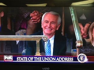 Ky. Gov. Steve Beshear watches State of the Union speech from House balcony at the Capitol in Washington, D.C., Tuesday. Image from Fox News/WDRB.