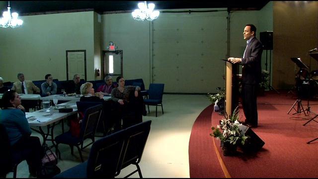 Senate candidate Matt Bevin spoke to the Oldham Co. Republican Woman's Club in Buckner on Feb. 11