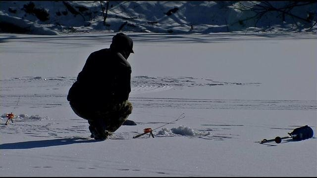 Frank Delbridge occasionally visits Willow Pond for ice fishing.