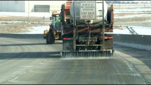 Metro Louisville crews brined streets in advanced of Friday's snowstorm.