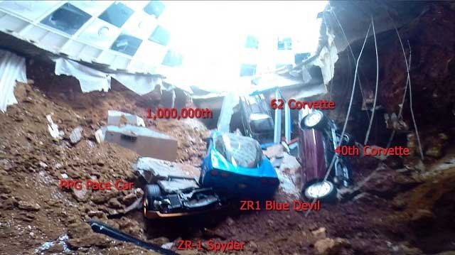 Picture of six of the eight Chevrolet Corvettes in the sinkhole at the National Corvette Museum.  The Museum labeled the cars in this photo released Feb. 15.  National Corvette Museum photo.