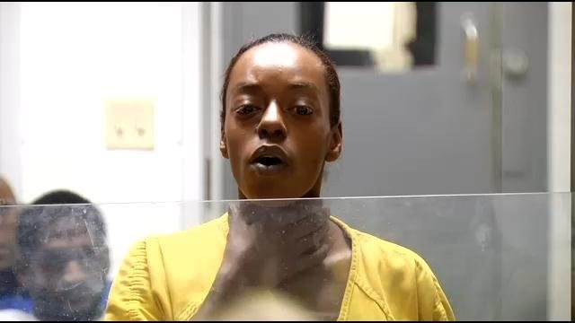 Felisha Yancey tries to defend herself in arraignment court.