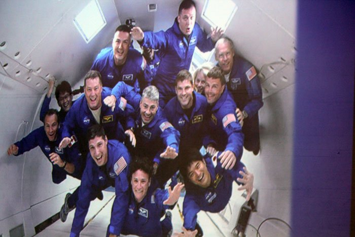 Scott Tingle with other members of NASA's 2009 astronaut class in simulated weightlessness training aboard NASA's KC-135 aircraft.