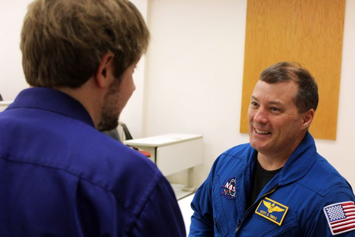 At the end of astronaut Scott Tingle's presentation, several engineering students rose to shake his hand.