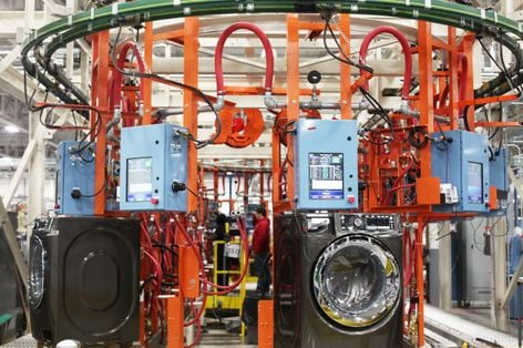 Washer-dryer line at Appliance Park (2013 GE press photo)