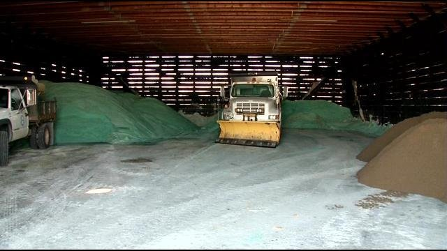 New Albany's salt barn is practically empty.