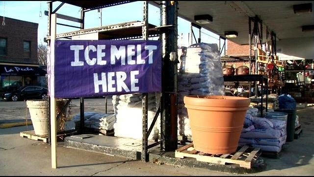 Keith's Hardware in Louisville advertises its stock of ice melt ahead of this weekend's expected winter storm.