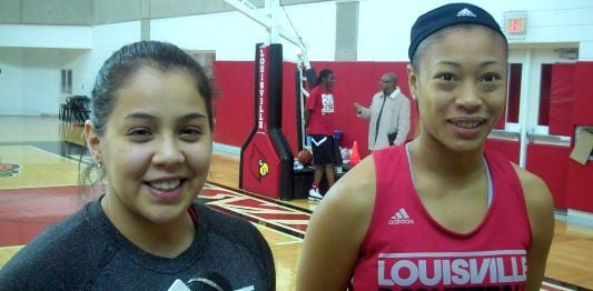 Shoni Schimmel (left) and Antonita Slaughter have helped changed the profile of Louisville basketball.