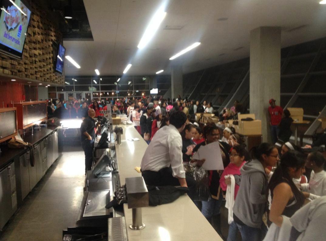 Fans wait for autographs at the KFC Yum! Center