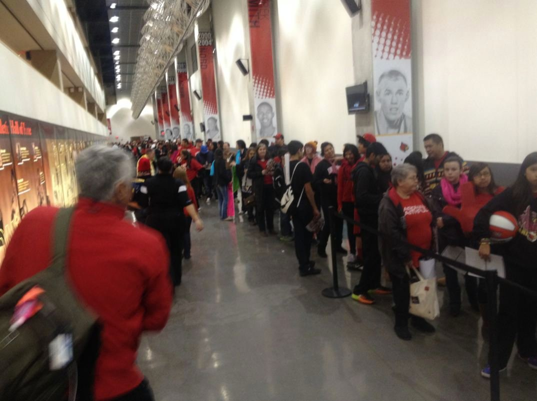 A portion of the autograph line at the KFC Yum! Center