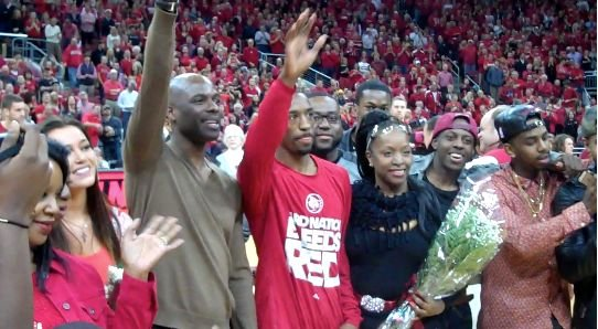 Russ Smith was joined by his parents and high school teammates on Senior Day at Louisville.
