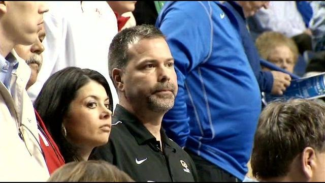 Former Ag Commissioner Richie Farmer watches his son play Sweet 16 state basketball tournament at Rupp Arena.