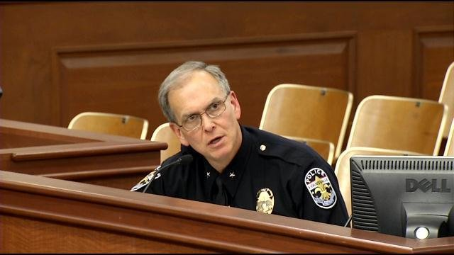LMPD Chief Steve Conrad responds to questions from Metro Council regarding last weekend's outbreak of violence at Waterfront Park.