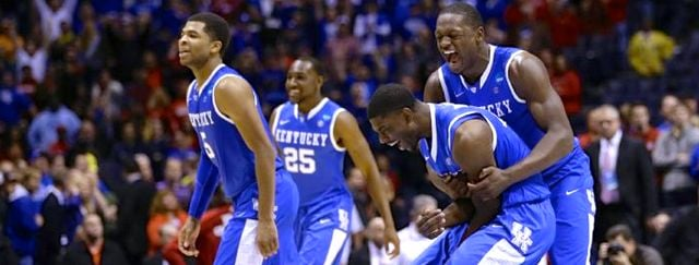 After rallying from a 13-point deficit, Kentucky celebrated its NCAA Tournament win over Louisville.