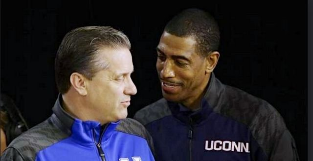 Kentucky coach John Calipari (left) and UConn's Kevin Ollie will put their friendship aside during the NCAA championship game.
