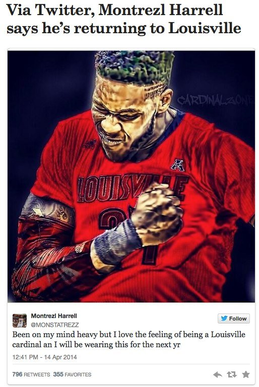 Montrezl Harrell announced his return via this Tweet (ericcrawfordsports.com photo)