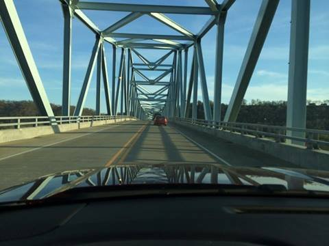 Driver's view of Milton-Madison bridge as reopened Thursday. Greg Sanders photo.