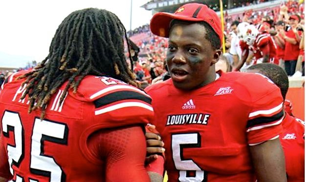 Like Teddy Bridgewater (5), Louisville safety Calvin Pryor was a talented high school quarterback