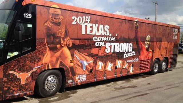 Austin American-Statesman photo by Brian Davis. Charlie Strong's tour bus.