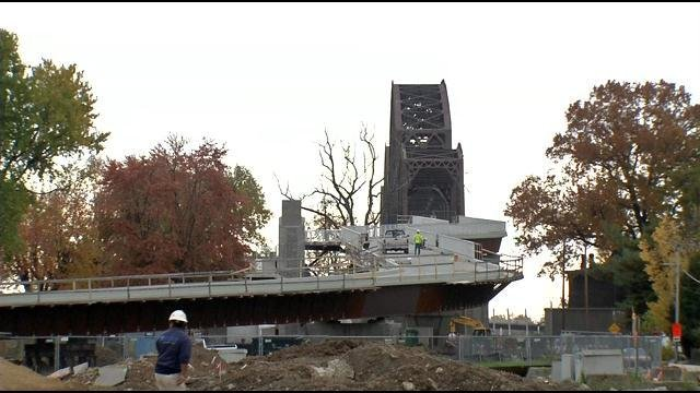 Early construction of Jeffersonville, Ind., ramp to Big Four Bridge. WDRB News.
